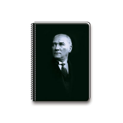 Atatürk  14*20 80Yp Çizgili Spiralli Sert Kapak Defter resmi