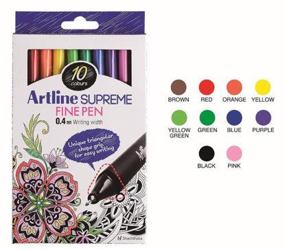 Artline Supreme Fine Pen Box 10 Colours resmi