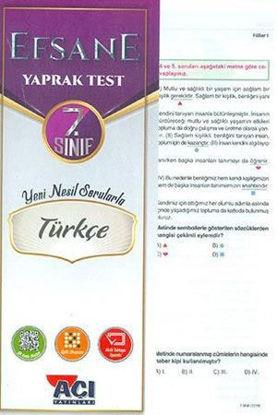 7. Sınıf Türkçe Efsane Çek Kopart Yaprak Test resmi