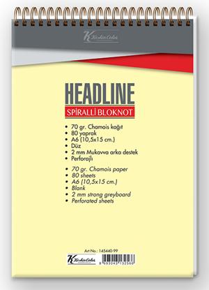 Headline  A6 80 Yp. Çizgisiz Karton Kapak Spiralli Bloknot resmi